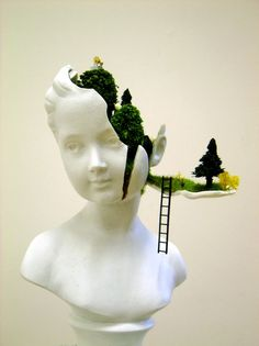 Mixed media artist Gregory Grozos deconstructs a sculptural bust, transforming it into a secret garden for miniature figures. via My Modern Metropolis