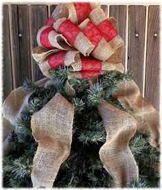 Red Tree Topper Burlap Tree Topper Red Bow by ChristmasAlley