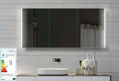 Fine Line Spiegelschrank 140x72cm mit LED Beleuchtung Kalt-Warm-Weiß einstellbar