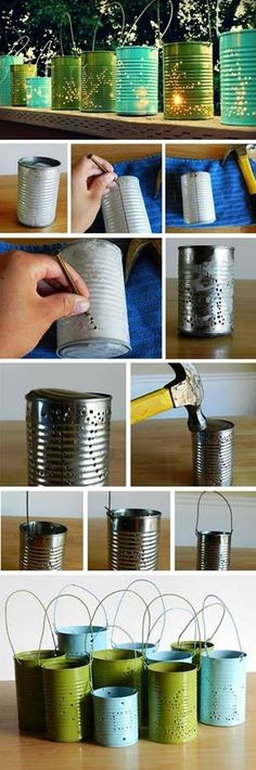 Upcycled garden lighting using cans.