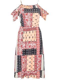 Peach Tile Print Midi Dress