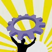 Free man lifting a machine wheel Illustration