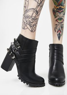 Shawty Wanna Ride Heeled Booties cuz ya keep it buck wild. Stomp it out in these dope buckle booties that have an inside zip with outsole traction to keep ya slay on point. #dollskill #mercy #mercydoll #black #goth #gothicgirl