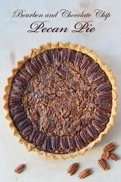 Bourbon and Chocolate Chip Pecan Pie. This Thanksgiving treat will not disappoint you. How to make pecan pie. As we set the table and get ready to put the turkey in the oven, lets not forget the Bourbon and Chocolate Chip Pecan Pie for dessert. Tart Recipes, Baking Recipes, Sweet Recipes, Dessert Recipes, Savoury Recipes, Pastry Recipes, Healthy Desserts, Healthy Food, Chocolate Chip Pecan Pie