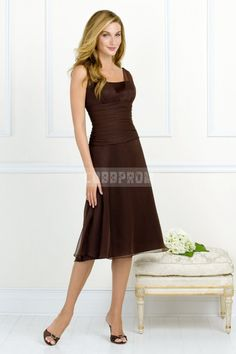 Tea Length Chocolate Chiffon Pleated Square Neck Bridesmaid Dress