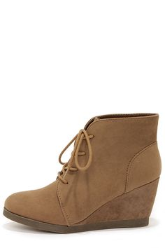 Madden Girl Domain Taupe Suede (vegan) Wedge Booties at LuLus.com!