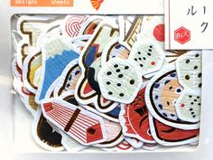 Stickers - Japanese Stickers - Lucky Cat - Mount Fuji - Daruma Doll - Kokeshi Doll - Chiyogami Paper Stickers - Sticker Flakes (S297) by FromJapanWithLove on Etsy