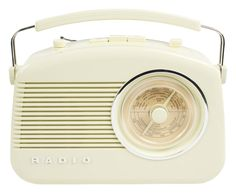 This retro radio in glossy cream finish with chrome accents and stylish carrying handle has a large dial scale to tune in to your favourite station and is equipped with volume and tone control to adjust sound clarity.