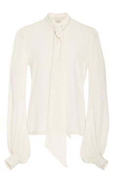 Ivory Tie Neck Silk Blouse by TALITHA for Preorder on Moda Operandi