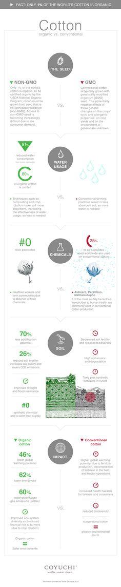 Coyuchi Infographic. Organic Cotton vs. Conventional Cotton