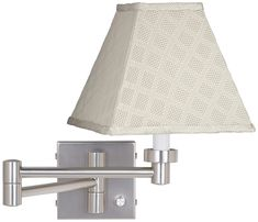 Meemaw Cream Shade Brushed Nickel Swing Arm Wall Lamp #walllamp #walllights #walllighting #bathroomlighting #readinglamps Swing Arm Wall Lamps, Cord Cover, Modern Wall Sconces, Wall Outlets, Brushed Nickel, Bathroom Lighting, Wall Lights, Bulb, Shades