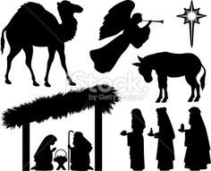 free silhoutte nativity scene patterns | Nativity silhouettes Stock Illustration 13776732 - iStock