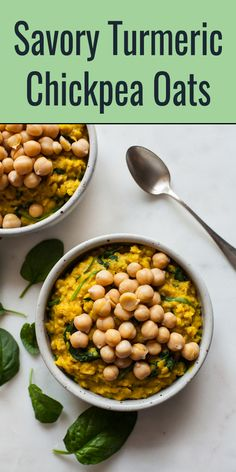 These savory turmeric chickpea oats are so easy to make, not to mention packed with protein, fiber, and iron. A perfect vegan breakfast! High Protein Breakfast, Savory Breakfast, Vegan Breakfast Recipes, Vegetarian Recipes, Healthy Recipes, Breakfast Ideas, Chickpea Recipes, Healthy Breakfasts, Savory Oatmeal Recipes