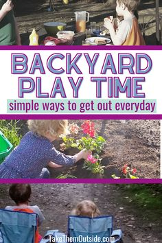 Find out how one mom includes outdoor time everyday (for toddlers, preschoolers, and young kids)... even for simple activities like reading, eating, and chores. #backyardplay #gettingkidsoutside