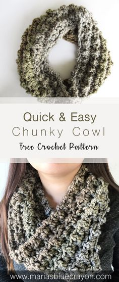 Quick & Easy Chunky Cowl - Free Crochet Pattern - Maria's Blue Crayon Easy & Quick Crochet Chunky Co Crochet Cowl Free Pattern, Free Crochet, Knitting Patterns, Cowl Patterns, Free Knitting, Knitting Tutorials, Stitch Patterns, Loom Knitting, Knitting Projects
