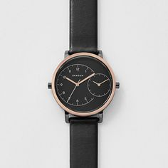 Hagen Dual-Time Leather Watch