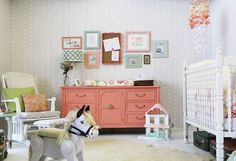 Love this chic tone-on-tone nursery feature wall with the Get Ziggy With It Stencil by Genevieve of Turned to Design. SO cool!!!