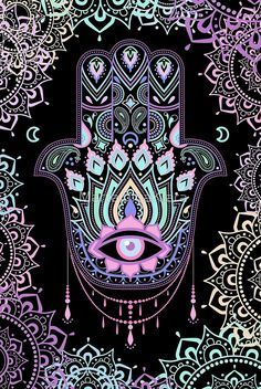 Intellectual property of Marta Olga Klara © All rights reserved A palm-shaped amulet, an image recognized and used as a sign of protection in many times throughout history, the hamsa is believed to provide defense against the evil Hamsa, amulet. Mandala Art, Mandala Nature, Image Mandala, Mandala Wallpaper, Wallpaper Backgrounds, Iphone Wallpaper, Psychedelic Art, Hamsa Art, Posca Art