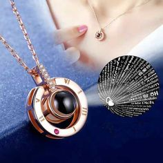 Rose Gold Silver 100 languages I love you Projection Pendant 2