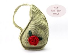 PDF Pattern - Unique Teardrop Shape Bag Crochet Purse Pattern Unusual Crochet Handbag Pattern Flower on Luulla Bag Crochet, Crochet Purse Patterns, Crochet Handbags, Crochet Purses, Flower Crochet, Handbag Patterns, Crochet Gifts, Crochet Bikini, Triangle Bag