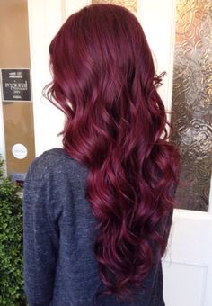 Cherry purple hair beauty tips burgundy hair, mahogany red hair, wine hair. Deep Red Hair Color, Maroon Hair Colors, Color Red, Wine Red Hair Color, Wine Colored Hair, Hair Colours, Red Wine, Vibrant Red Hair, Purple Hair