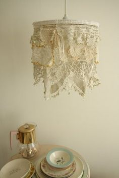 Doily and lace lamp shade? Something I have to try!  but maybe It will get dusty fast