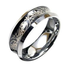 Light Tungsten Black Ring w/ Paisley Etched Design