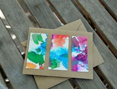 Watercolored Blank Note Cards and Envelopes by KidsCreativeCrafts, $10.00