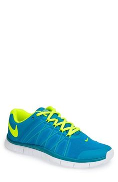 Love! Electric blue and neon yellow Nike 'Free Trainer 3.0' training shoe.