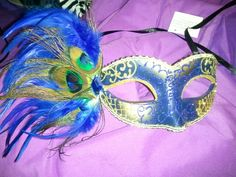 Blue Masquerade mask. Peacock. Prom theme.