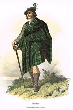 """Clans & Tartans of Scotland by McIan - """"MACLEOD"""" - Lithograph -1988"""