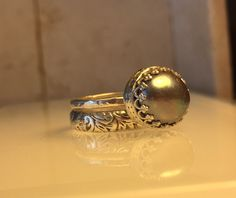 Handcrafted Pearl and Sterling Silver Ring. Great clearance pricing on this item. by Jewelriart on Etsy https://www.etsy.com/listing/255220925/handcrafted-pearl-and-sterling-silver