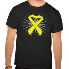 Sarcoma Heart Ribbon Shirt with a yellow ribbon and burst for an eye-catching style