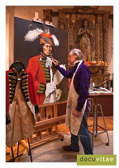 Artist Paul Pletka painting in his home studio in Santa Fe   kp