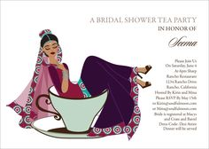 Teacup Bride Indian Bridal Shower Invitations by #SoulfulMoon