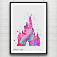 Cinderella's Castle Disney Watercolor Art Print, Princess Poster, Baby Nursery Wall Art, Home Decor, Not Framed, Buy 2 Get 1 Free! [No. 182]