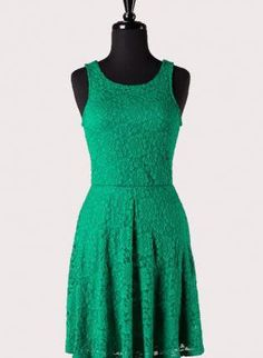 Criss-Crossed Green Lace Dress with boots