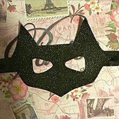 The Batty Mask - black glittery mask, batman mask, batgirl mask, cat mask…
