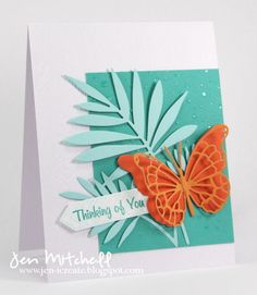 Falling Snow stencil (Simon Says Stamp); Palm Fancy die (Hero Arts); Asti Buttefly die, Willoughby Butterfly die (Memory Box); translucent embossing paste...