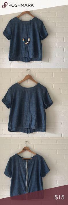 b4726504d23 Chambray Blouse Beautiful short sleeve chambray blouse
