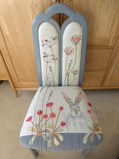 If you would like to commission a chair, please get in touch! I have re-upholstered many chairs to customers' bespoke specifications over the past few years. Just let me know what you have in mind using the comments box at checkout, or email me at jo@johilltextiles.co.uk.Prices generally start from £100, depending on the design and the level of detail. Many people say they are 'too nice to sit on' (which is lovely!) but they are actually really hard-wearing and are stitched to las...