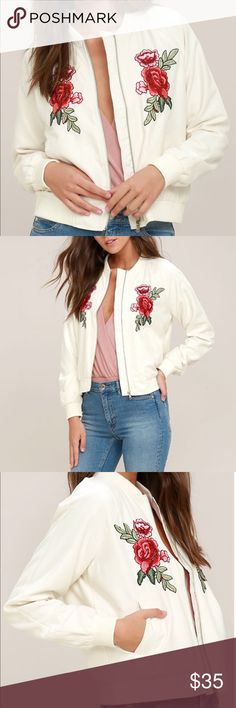 🆕 BB Dakota Ivory Embroidered Jacket Retro is in, and the Jack by BB Dakota Varis Ivory Embroidered Bomber Jacket proves it! This cool and cozy bomber has ribbed knit at the collar and cuffs, front welted pockets and silver zipper front. Red, pink, and green floral embroidered applique completes the look! It is a fully lined jacket that is the newest trend.     Fiber Content: 100% polyester. trim: 95% polyester, 5% spandex Jack by BB Dakota Jackets & Coats