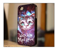 Case iphone 4 and 5 for Cat Cheshire We're All Mad Here Galaxy on Etsy, $14.89
