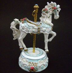 San Francisco Music Box Co 2001 Musical Carousel Horse Ornament Christmas