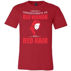 Hobbies - Never underestimate an old woman with red head - men short sleeve t shirt - TL00831SS