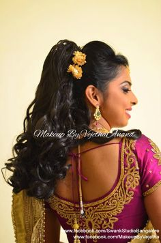Indian bride's reception hairstyle by Vejetha for Swank Studio. Curls. Saree Blouse Design. Hair Accessories. Tamil bride. Telugu bride. Kannada bride. Hindu bride. Malayalee bride. Find us at https://www.facebook.com/SwankStudioBangalore
