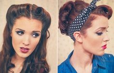 For the hair id like either victory rolls with tight curls or a 1920 beehive with a colourful hair band in