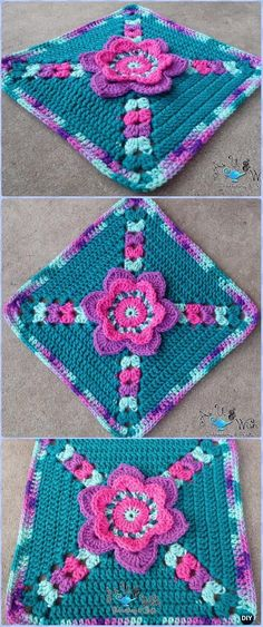 Crochet  Tip Toe Through the Tulips Granny Square Free Pattern - Crochet Granny Square Free Patterns