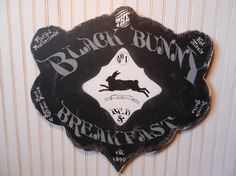 The Black Bunny Bed  Breakfast wood sign French Farmhouse Folk Primitive shabby chippy black chalk rabbit hare antique vintage PERSONALIZED...