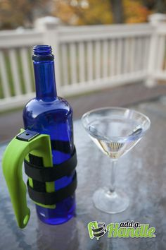 How cool is this wine bottle?  It's so cool because it has Add-a-Handle!  This handle is made in NY and is a very useful tool!  It will help you start the party off right!    Add-a-Handle https://add-a-handle.com/shop/